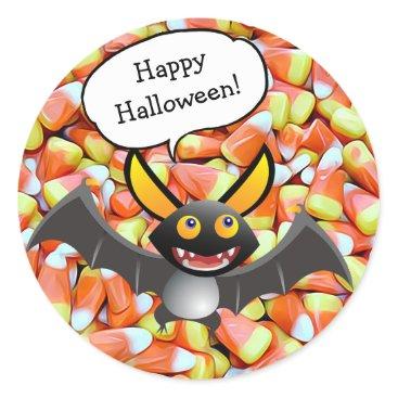 Halloween Themed Happy Halloween Bat Candy Corn Stickers