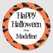 Happy Halloween Bat Pattern Kids Personalized Classic Round Sticker