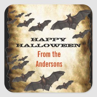 Happy Halloween Bats and Burnt Parchment