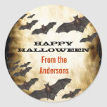 Happy Halloween Bats and Burnt Parchment Sticker