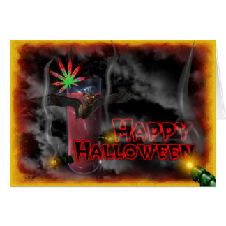 happy Halloween bats and cannabis leaf Card