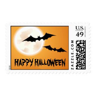 Happy Halloween, bats and full moon in orange sky Postage