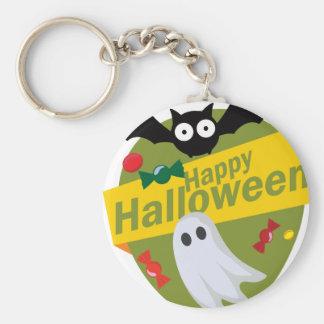 Happy Halloween Bats and Ghosts Keychain