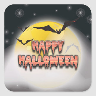Happy Halloween Bats and Moon Sticker