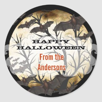 Happy Halloween Bats and Tree Burnt Parchment Stickers