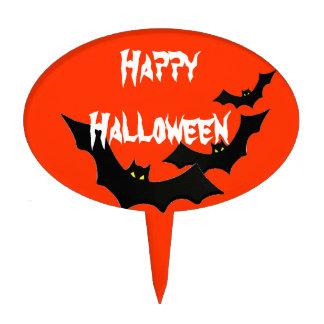 Happy Halloween bats Oval Cake Pick