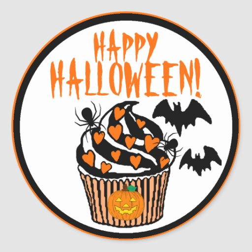 Happy Halloween Bats Cupcake Classic Round Sticker