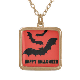 Happy Halloween Bats Gold Plated Necklace