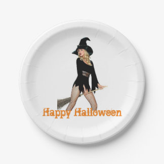 Happy Halloween beautiful Witch paper plate