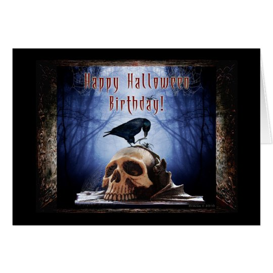 happy halloween birthday raven on skull card - Happy Halloween Birthday