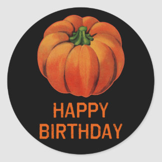 happy halloween birthday with pumpkin classic round sticker - Happy Halloween Birthday