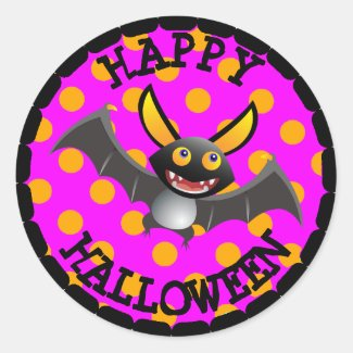 Happy Halloween Black Bat Party Stickers