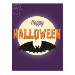 Happy Halloween Black Bat Post Card
