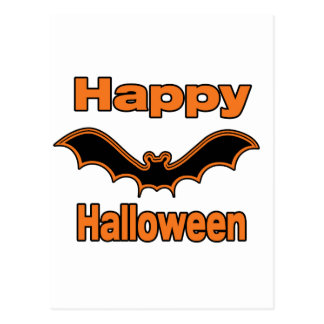 Happy Halloween Black Bat Postcard
