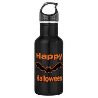 Happy Halloween Black Bat Water Bottle