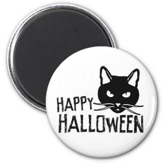 Happy Halloween Black Cat 2 Inch Round Magnet