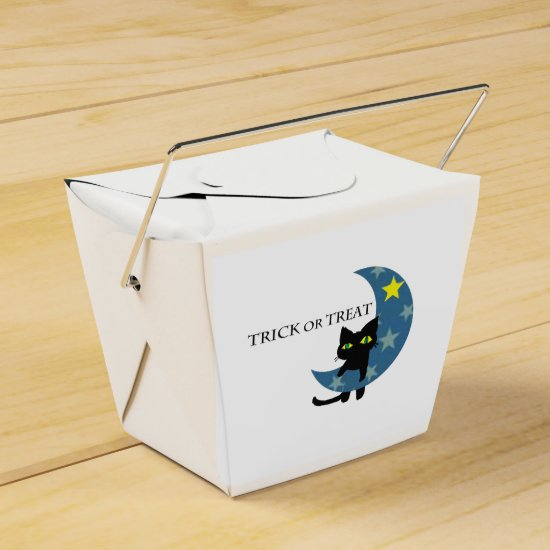 Happy Halloween Black Cat and the Moon, a Ghost Favor Box
