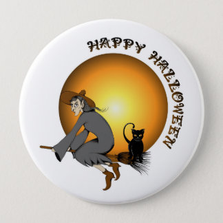 Happy Halloween Black Cat and Witch Button