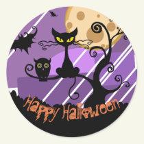 Happy Halloween Black Cat, Bats, Owl Sticker Sheet