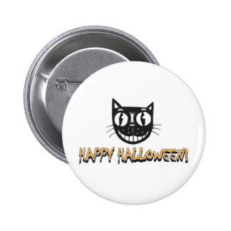 Happy Halloween Black Cat Button