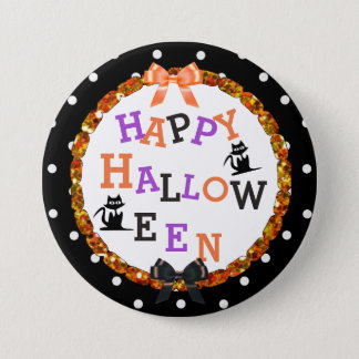 Happy Halloween Black Cat Buttons
