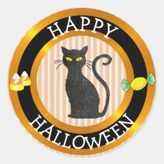 Happy Halloween Black Cat & Candy Sticker