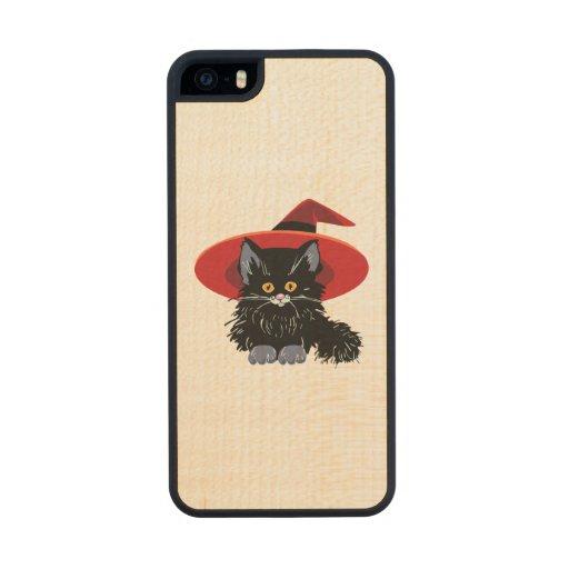 Happy Halloween Black Cat Carved® Maple iPhone 5 Slim Case