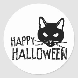Happy Halloween Black Cat Classic Round Sticker