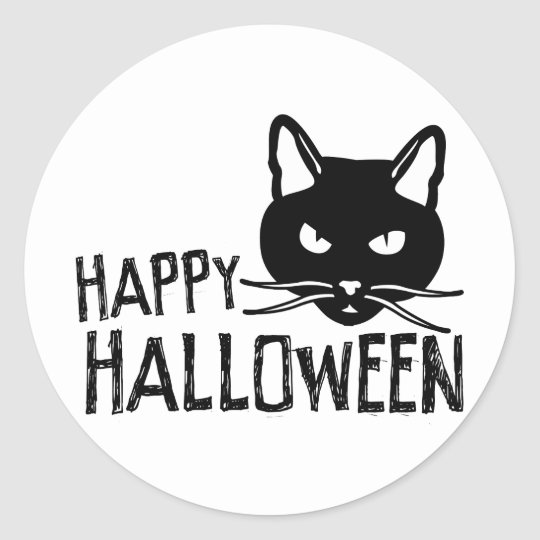 Happy Halloween Black Cat Classic Round Sticker