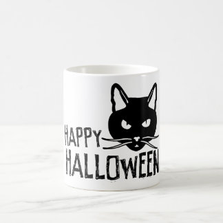 Happy Halloween Black Cat Classic White Coffee Mug