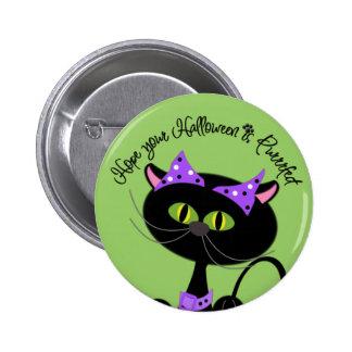Happy Halloween Black Cat Devil Pin