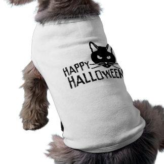 Happy Halloween Black Cat Dog Tee Shirt