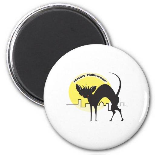 Happy Halloween Black Cat Fridge Magnet