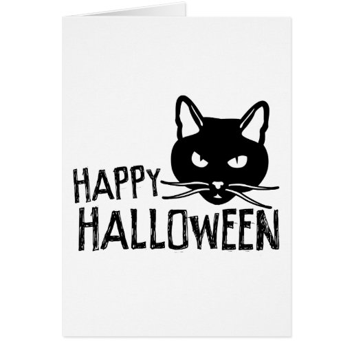 Happy Halloween Black Cat Greeting Card