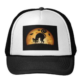 happy halloween black cat trucker hats