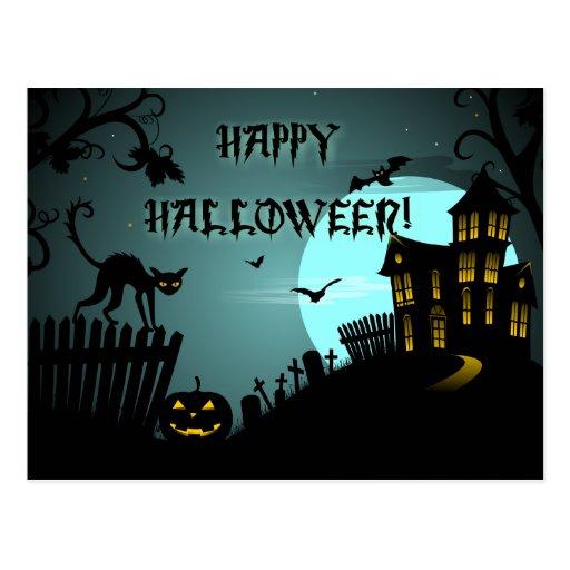 Happy Halloween Black Cat Haunted House Blue Post Card