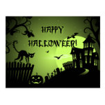 Happy Halloween Black Cat Haunted House Post Cards