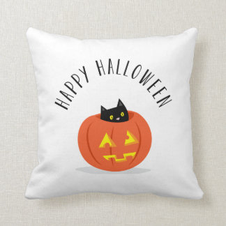 Happy Halloween Black Cat Jack O Lantern Pumpkin Throw Pillows