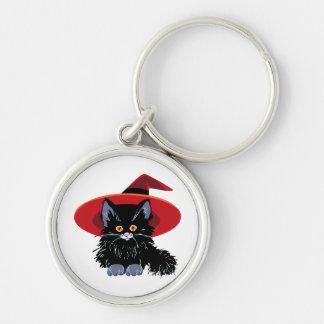 Happy Halloween Black Cat Keychain
