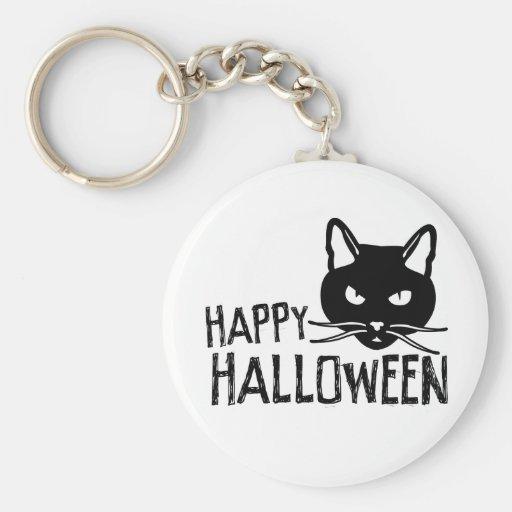 Happy Halloween Black Cat Basic Round Button Keychain