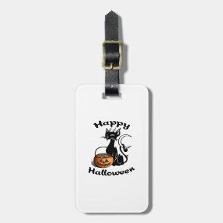 Happy Halloween Black Cat Luggage Tag