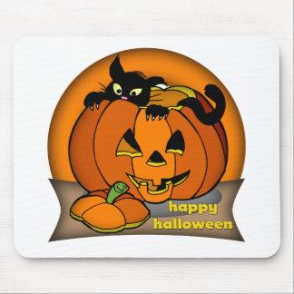 Happy Halloween Black Cat Mouse Pad