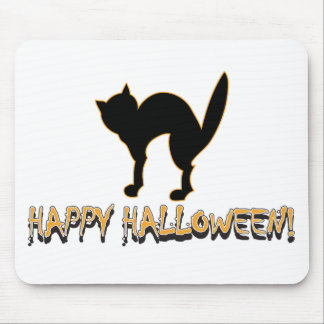 Happy Halloween Black Cat Mouse Pads