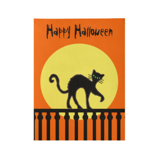 Happy Halloween Black Cat on Fence Graphic Art Wood Poster