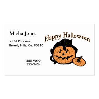 Happy Halloween Black Cat On Pumpkin Business Card