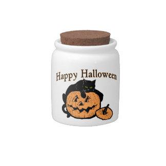 Happy Halloween Black Cat On Pumpkin Candy Jars