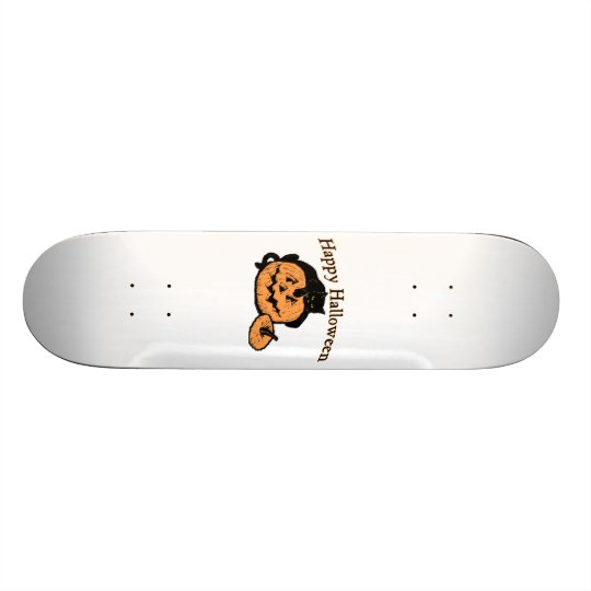Happy Halloween Black Cat On Pumpkin Skateboard Deck