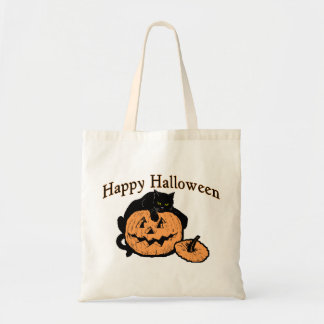 Happy Halloween Black Cat On Pumpkin Tote Bag