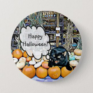 Happy Halloween Black Cat on Pumpkins Button