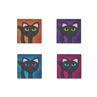 Halloween Themed Happy Halloween Black Cat Orange-Purple-Blue-Pink Stone Magnet